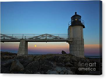 Marshall Point Lighthouse With Full Moon Canvas Print by Diane Diederich