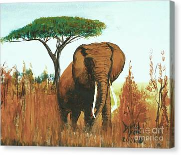 Canvas Print featuring the painting Marsha's Elephant by Donna Dixon
