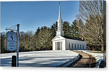 Martha Mary Chapel Canvas Print - Martha Mary Chapel In Winter by Bill Dussault