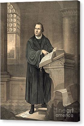 Sermon Canvas Print - Martin Luther In His Study by American School