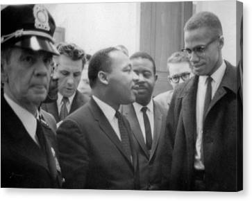 Martin Luther King Jnr And Malcolm X Canvas Print by American School