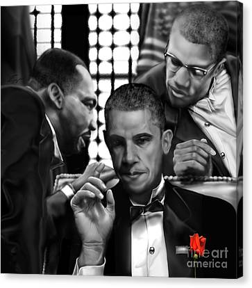 Martin Malcolm Barack And The Red Rose Canvas Print by Reggie Duffie
