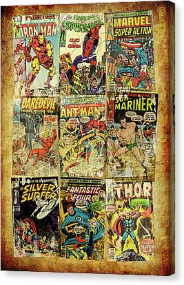 Marvel Superheros Collage Canvas Print by Russell Pierce