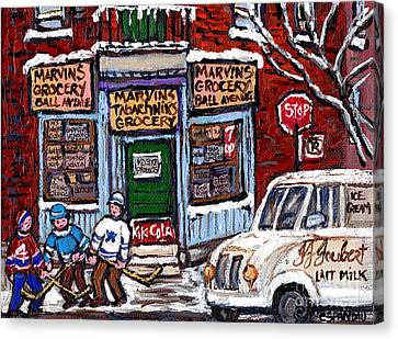 Marvins And Tabachnicks Grocery With J J Joubert Milk Truck Ball Ave Park Ex Montreal Memories Art Canvas Print by Carole Spandau
