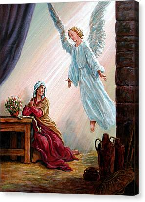 Mary And Angel Canvas Print by John Lautermilch
