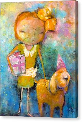 Canvas Print featuring the painting Mary Had A Little Dog by Eleatta Diver