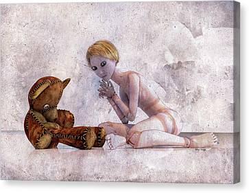 Doll Canvas Print - Mary Jane And Bedtime Bear Betsy Knapp by Betsy Knapp
