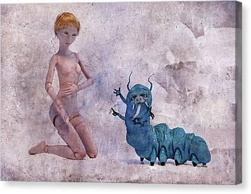 Doll Canvas Print - Mary Jane And The Blue Hooka Pooka Betsy Knapp by Betsy Knapp