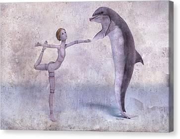 Doll Canvas Print - Mary Jane And The Dolphin 101f Betsy Knapp by Betsy Knapp