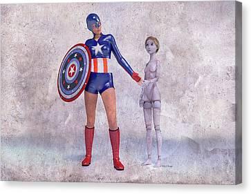 Super Girl Canvas Print - Mary Jane Meets A Superhero 101d Betsy Knapp by Betsy Knapp