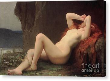 Mary Magdalene In The Cave Canvas Print by Jules Joseph Lefebvre