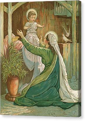 Mary Playing With Jesus Canvas Print by John Lawson