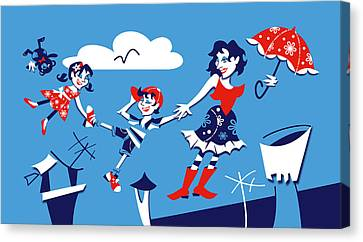 Mary Poppins - Children Book Illustration Canvas Print by Arte Venezia