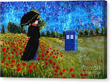 Gorgeouse Lady With Phone Booth Canvas Print
