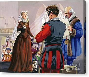 Mary Queen Of Scots About To Be Beheaded At Fotheringay Castle Canvas Print by Pat Nicolle