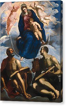 Mary With Child - Venerated By St Marc And St Luke Canvas Print by Mountain Dreams