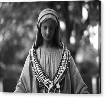 Mary With Rosaries Canvas Print