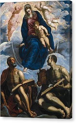 Mary With The Child, Venerated By St. Marc And St. Luke Canvas Print by Tintoretto