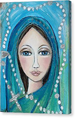 Mary With White Rosary Beads Canvas Print by Denise Daffara
