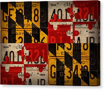 Maryland State Flag Recycled Vintage License Plate Art Canvas Print