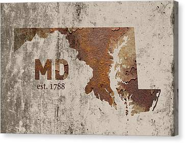 Maryland State Map Industrial Rusted Metal On Cement Wall With Founding Date Series 027 Canvas Print by Design Turnpike