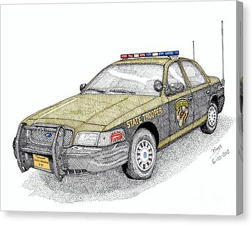 Maryland State Police Car Style 1 Canvas Print by Calvert Koerber