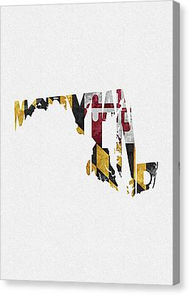 World Map Canvas Print - Maryland Typographic Map Flag by Inspirowl Design