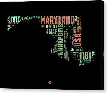 Maryland Word Cloud 1 Canvas Print
