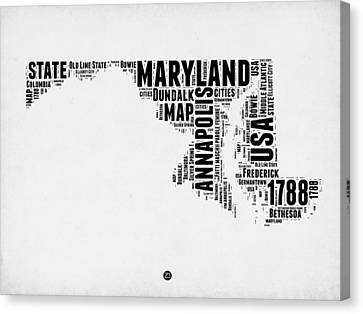 Maryland Word Cloud 2 Canvas Print by Naxart Studio