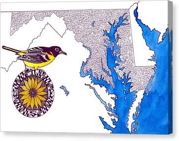Maryland Word Map Canvas Print by Terri Kelleher