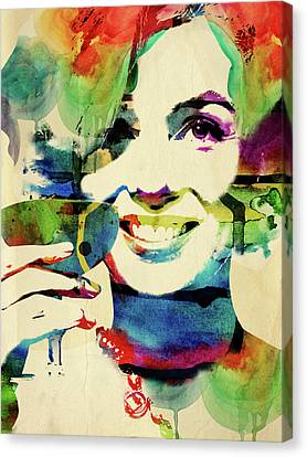 Marilyn And Her Drink Canvas Print by Mihaela Pater