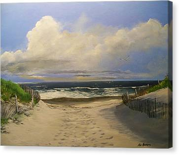 Canvas Print featuring the painting Mary's Beach by Ken Ahlering