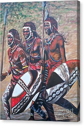 Canvas Print featuring the painting Masaai Warriors by Sigrid Tune