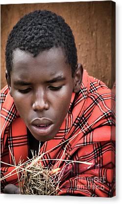 Canvas Print featuring the photograph Masai Firemaker by Karen Lewis