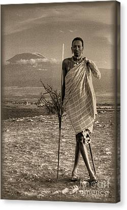 Masai Kilimanjaro Canvas Print by Nigel Fletcher-Jones