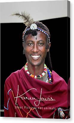 Canvas Print featuring the photograph Masai Warrior by Karen Lewis