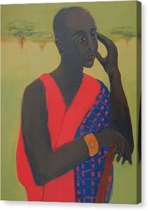 Masaii Warrior Canvas Print by Renee Kahn