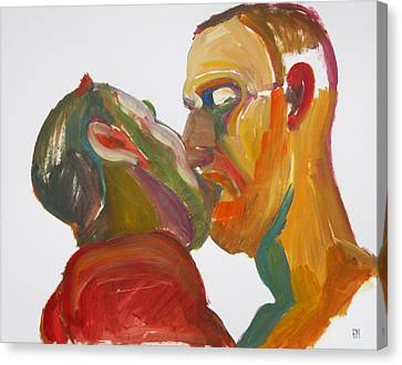 Canvas Print featuring the painting Masculine Kiss by Shungaboy X