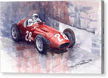 Maserati 250 F Gp Monaco 1956 Stirling Moss Canvas Print by Yuriy  Shevchuk