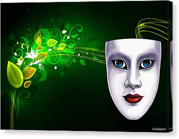 Canvas Print featuring the photograph Mask Blue Eyes On Green Vines by Gary Crockett