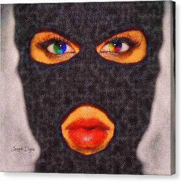 Red Lips Canvas Print - Mask - Da by Leonardo Digenio