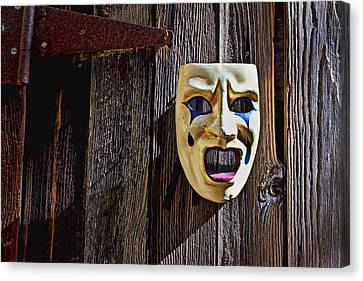 Mask On Barn Door Canvas Print