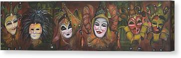 Canvas Print featuring the painting Mask Row by Nik Helbig