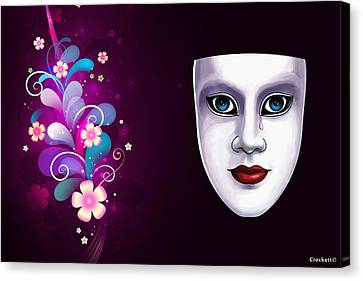 Canvas Print featuring the photograph Mask With Blue Eyes Floral Design by Gary Crockett