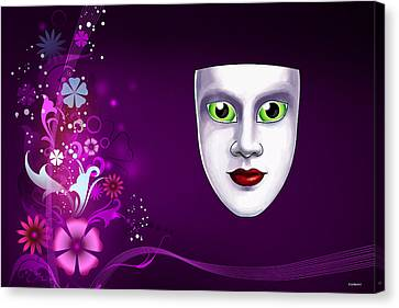 Canvas Print featuring the photograph Mask With Green Eyes On Pink Floral Background by Gary Crockett