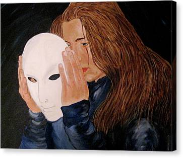 Canvas Print featuring the painting Masked by Rebecca Wood