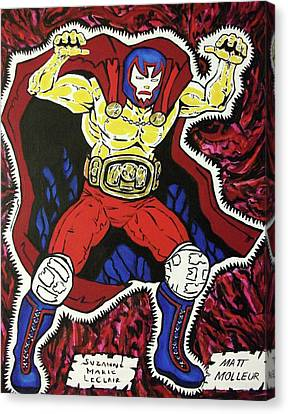 Masked Wrestler Collaboration Canvas Print by Suzanne  Marie Leclair