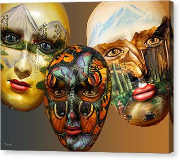 Masks On The Wall Canvas Print