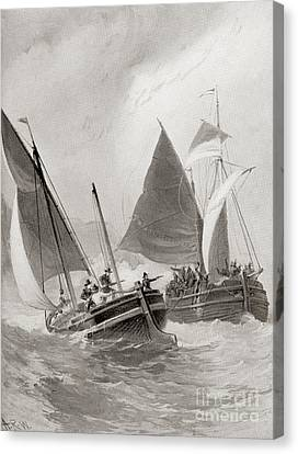 Mason And Gallop Attacking The Indians Off Block Island Canvas Print by American School