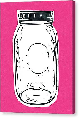 Canvas Print featuring the mixed media Mason Jar Hot Pink- Art By Linda Woods by Linda Woods